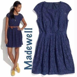 Madewell Blue Eyelet Lace Short Sleeve Pleat Dress